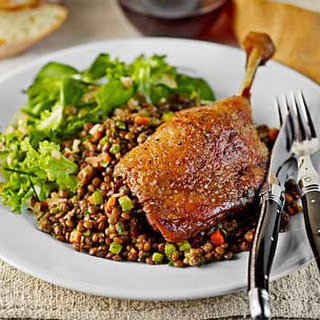 Duck Confit with Braised Lentils