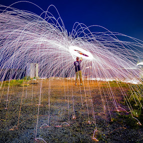 Sparks At Dawn by Adrian Choo - Abstract Light Painting ( light painting, steel wool, bright, sparks, light )