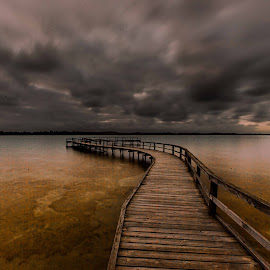 Lake Clifton sunset by Lourens Lee Wildlife Photography - Buildings & Architecture Bridges & Suspended Structures ( sun rise, sunset, jetty, seascape, bridges, lourens lee, landscape,  )