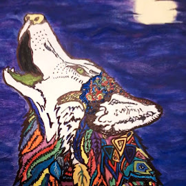 Native American Abstract Wolf by Diana Woods - Painting All Painting (  )