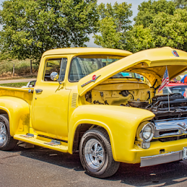 56 Ford pickup by Judy Deaver - Transportation Automobiles ( truck, yellow, classic )