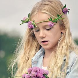 Clover field by Melanie Pista - Babies & Children Children Candids ( blonde, blue, bunch, clover, purple flower )