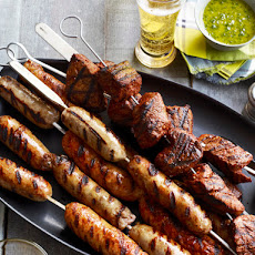 Beef and Sausage Kebabs With Salsa and Chimichurri