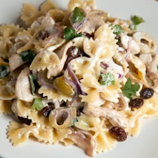Mario Batali's Chicken Pasta Salad with Green Olives and Raisins