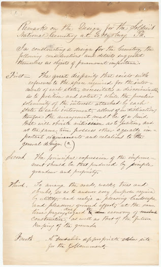 "William Saunders. ""Remarks on the Design for the Soldier's National Cemetery."" Cornell University Library manuscript. [n.d.]"