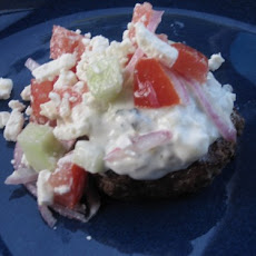 Gyro Burgers with tzatziki and cucumber salad
