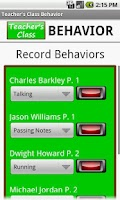 Screenshot of Teacher's Class BEHAVIOR PRO