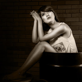Mulan in Barrel by Daniel Set - People Portraits of Women ( tank top, monochrome, long hair, legs, barrel, eyes )