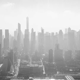 New York City by Rolf Crisovan - City,  Street & Park  Skylines ( manhattan skyline, skyline, black and white, new york city, new york, usa )