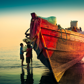 waiting for destination by Suvradip Dutta - Transportation Boats ( colorful, sunset, children, travel, beach, boat, landscape )