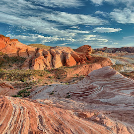 Sunset at Fire Wave by Jay Gould - Landscapes Sunsets & Sunrises ( colored limestone, limestone, clouds and blue sky, sunset, nevada, valley of fire )