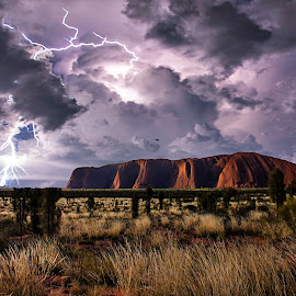 Lightning over Uluru by Leon Chester - Landscapes Weather ( lightning, thunderstorm, red centre, monolith, australia, ayers rock, weather, uluru, northern territory )