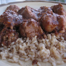 Chili Cranberry Pork over Rice