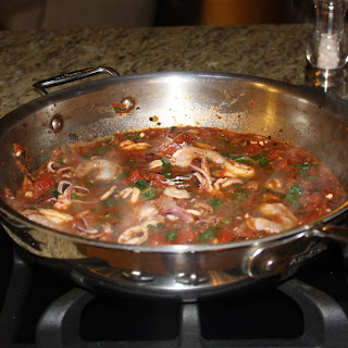 Braised Calamari with Spinach and Tomatoes