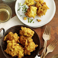 Cauliflower Bhajis With Yogurt Dip