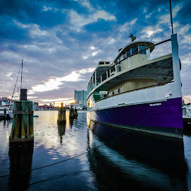 by Geoff Lawrence - Transportation Boats ( inner harbor, wide angle, baltimore, longexposure, ravens )