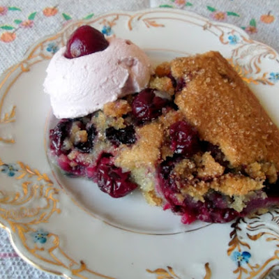 Brown Butter Very Cherry Cobbler Served With Cherry Whipped Cream