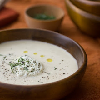 Roasted Cauliflower & Potato Soup with Dill Whipped Cream