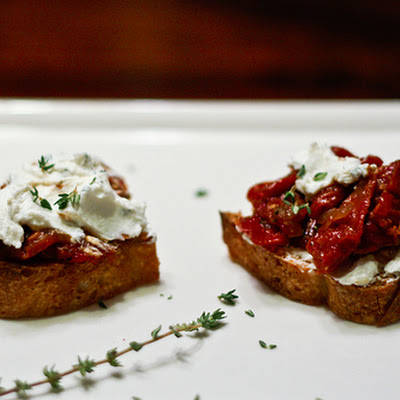Goat Cheese Crostini with Sun-Dried Tomato Jam