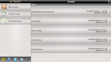 Screenshot of Woodstone CU Banking - Tablet