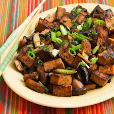 Stir-Fried Marinated Tofu and Mushrooms