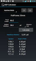 Screenshot of DOF Calculator