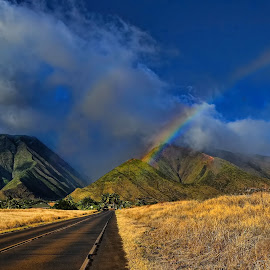 Lu's Double Rainbow in Maui by Margie MacPherson - Landscapes Mountains & Hills
