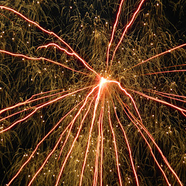 Flash and Flare by Taylor Bice - Abstract Fire & Fireworks ( wow, red, blast, no edit, fireworks, south dakota, aberdeen, timing )