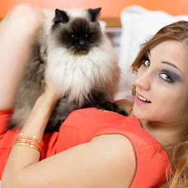 Grumpy Cat by Zsolt Rozsavolgyi - People Portraits of Women ( cat, indoor, woman, glamorous, portrait )