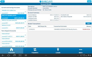 Screenshot of Barclays Mauritius