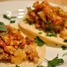 Potato Chorizo Tacos with Avocado Salsa