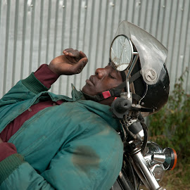 Catchin some zzzs on the bike by Alan Cline - People Street & Candids ( arusha, motorcycle, sleeping, africa, tanzania )