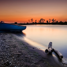 The Fishing Boat by Bouras Panagiotis - Landscapes Beaches ( moon, mountain, relax, colorful, fish, plants, reflections, ocean, beach, travel, landscape, recreation, sun, coast, island, driftwood, sky, nature, sailing, weather, water, orange, sand, edge, greek, colors, greece, horizon, sea, leisure, tourism, lake, boat, holiday, traveling, red, blue, sunset, peace, summer, meditation, sunrise, fishing, rest, tranquility, river )