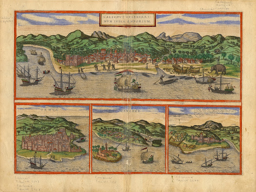 Georg BRAUN (1541-1622) & Frans HOGENBERG (1535-1590).  [Views of Kozhikode and Kannur, Kerala with Hormuz, Iran and Elmina, Ghana].  Calechut Celeberrimum Indiae [with] Ormus [with] Cananor.  Cologne, 1572. Copper engraving with original hand colour, 39.6 x 53.4 cm. The earliest printed views of Calicut (Khozikode) and Cannanore (Kannur) on the Malabar Coast, from Braun & Hogenberg's celebrated town book.  The present sheet of views includes two of the most popular early printed European impressions of Indian cities, printed as part of Georg Braun and Frans Hogenberg's celebrated series of urban views, published as Civitates Orbis Terrarum (1572-1618). During the 16th Century, Europeans were dazzled by the immense wealth that flowed from the subcontinent and captivated by the accounts of travellers who described India's exotic wonders.   The present views of Calicut (Kozhikode) and Cannanore (Kannur) are imbued with considerable importance as the authoritative contemporary views of these important trade centres, being predicated, in good part, on actual observation.  They are likely based on drawings that were part of a collection that Frans Hogenberg is thought to have acquired from a Portuguese mariner in Antwerp around 1570.