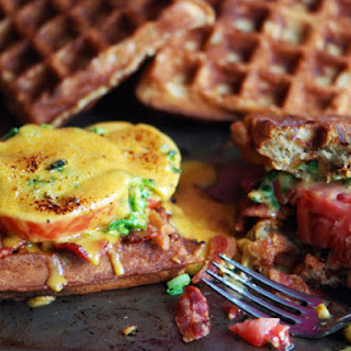 Welsh Rarebit on Beer Waffles with Bacon and Tomatoes