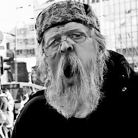 The Scream by Dragana Jankovic - People Street & Candids ( black and white, street, candid, street scene, people, portrait, man, street photography )