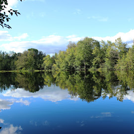 Clear Reflection of the sky by Jayaraj Subramanian - Nature Up Close Water ( mirror, water, reflection, sky, blue )