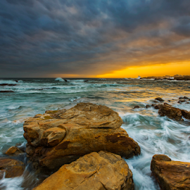 Rocky Shore by Clive Wright - Landscapes Sunsets & Sunrises ( water, seunset, oceam, sea, rocks )
