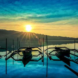 Bedugul Lake in Bali by Ade Irgha - Transportation Boats ( clouds, hill, sky, lake, boat )