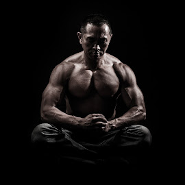 Meditation by Joel Mitchell - People Portraits of Men ( fitness, muscles, buddhist, namaste, muscular, yoga )
