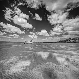 Low tide at Tin Can BW by Daryl James - Black & White Landscapes ( http://daryljamesphotography.com/ ccg hdr maryb, ccg hdr maryborough panorama, daryl james )