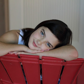 Sister2 by Joe Faherty - Novices Only Portraits & People ( dark hair, red chair, blue eyes )