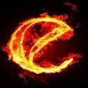 3D burning E code icon