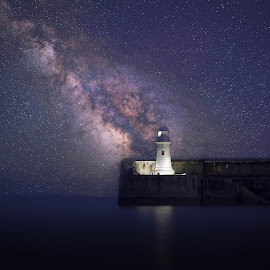 by Damien Harrow - Landscapes Starscapes ( sky, stars, pier, sea, night, seascape, space, nightscape )