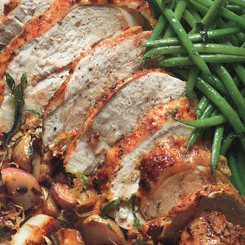 Roast Turkey Breast with Potatoes, Green Beans, and Mustard Pan Sauce