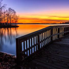 Creek Sunset by Naresh Balaguru - Landscapes Sunsets & Sunrises ( sunset, lake )
