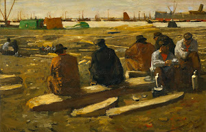 RIJKS: George Hendrik Breitner: Lunchtime at the Building Site on the Van Diemenstraat in Amsterdam 1897