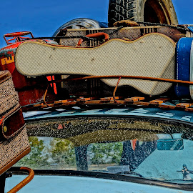 Packed and Ready by Barbara Brock - Artistic Objects Other Objects ( luggage on a car, car travel, road trip, old luggage, vintage luggage )