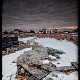 Dungeness Mess by Ian Pinn - Landscapes Beaches ( debris, winter, cold, kent, snow, beach, boat )