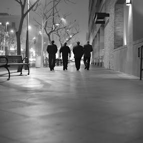 Early Morning Bond by Antonio Gilbreath - Black & White Portraits & People ( black and white, santa monica, males, movie, agmediaenterprises, fog, antonio gilbreath, four, men, horror, alone, street lights, crowded )